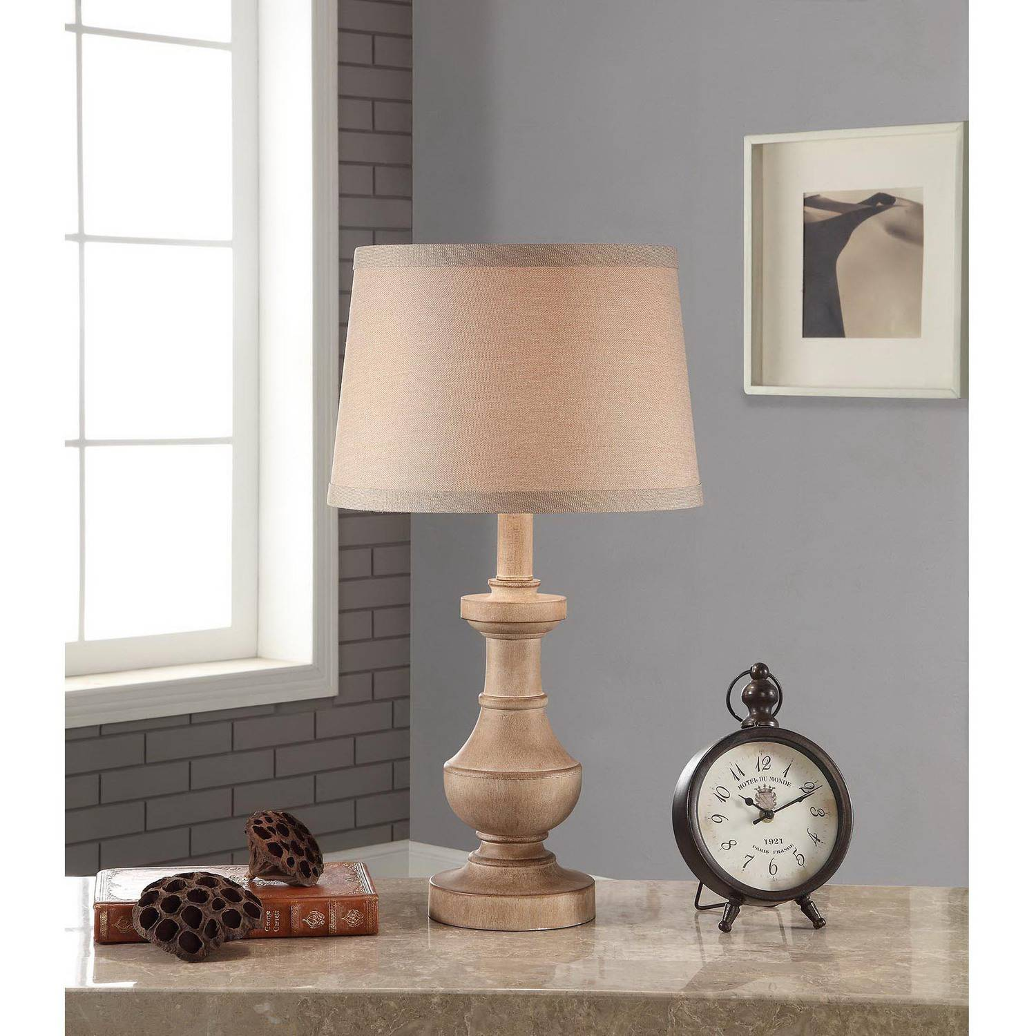 Better Homes And Gardens Rustic Table Lamp White Washed Wood Finish