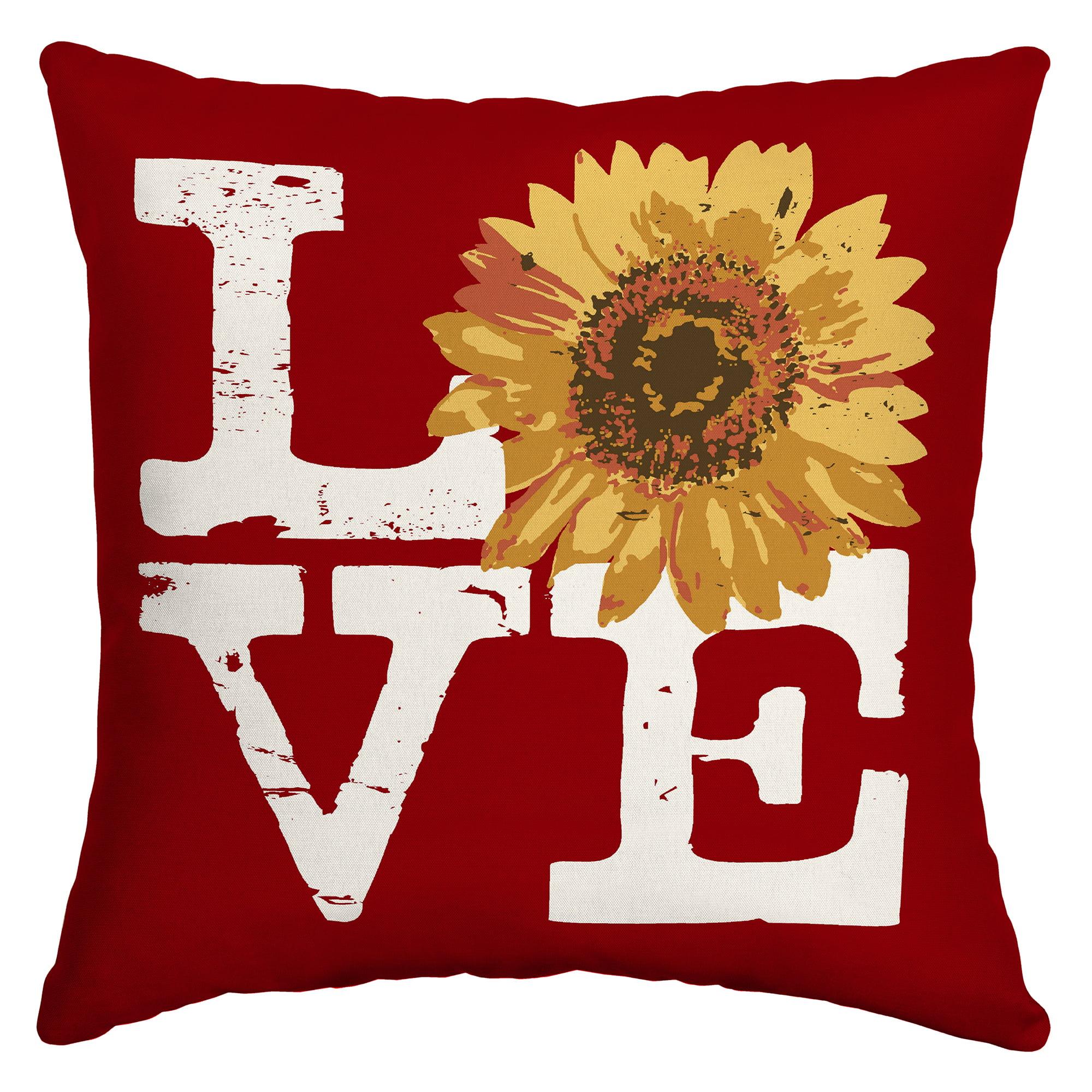 mainstays 16 love sunflower outdoor throw pillow
