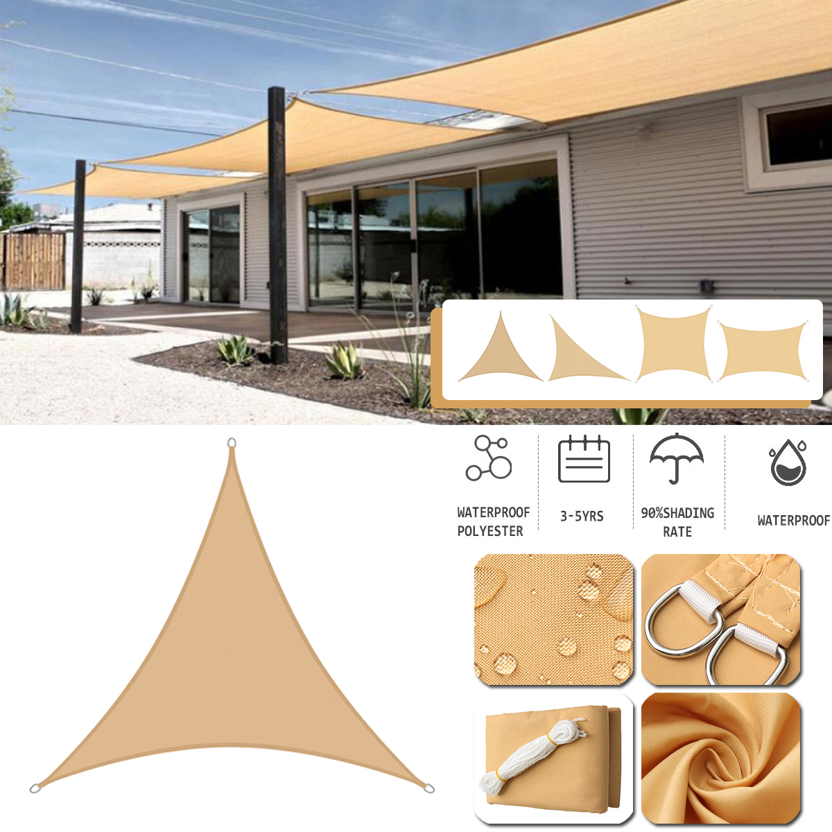 300d sun shade sail waterproof outdoor garden waterproof canopy patio cover uv beach canopy parasol tent cover