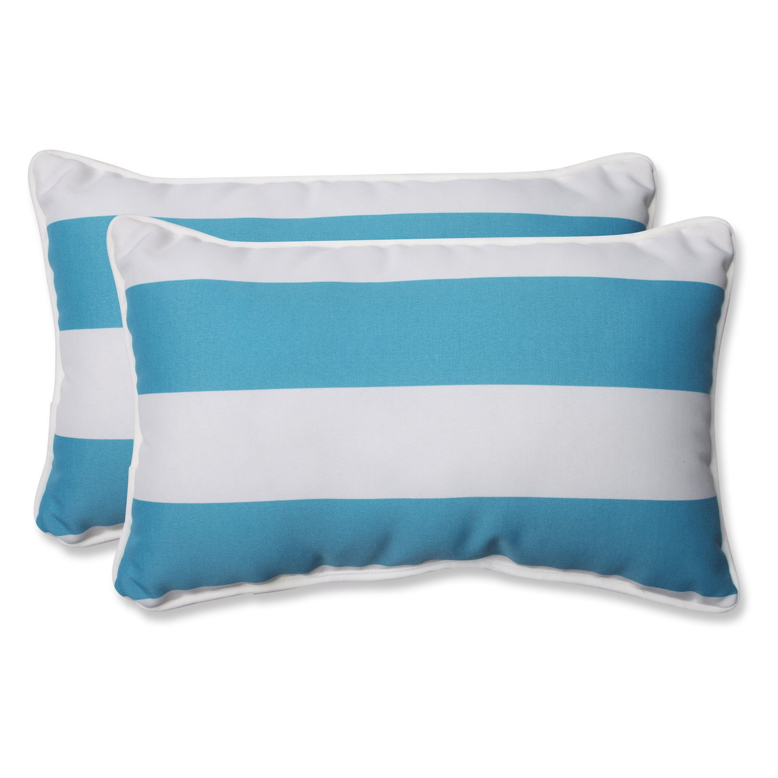 pillow perfect outdoor indoor cabana stripe turquoise rectangular throw pillow set of 2 walmart com