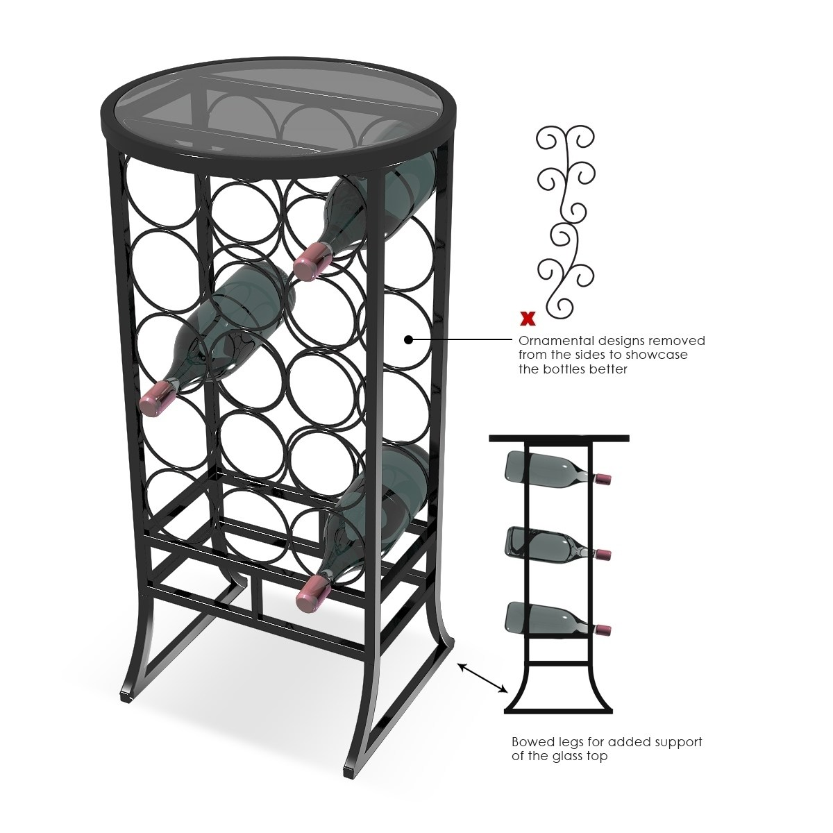 sorbus wine rack stand glass table top 18 bottles wine storage organizer display rack table for dining room kitchen wine cellar bar and more