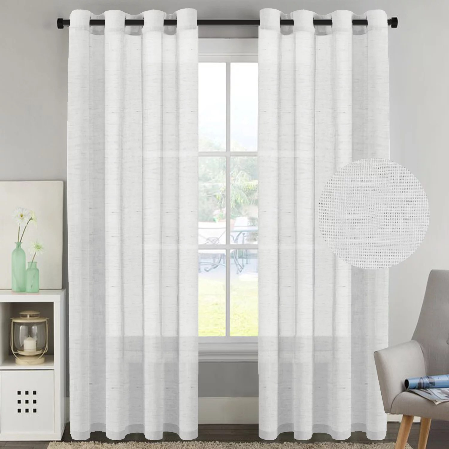 h versailtex white curtain panels rich natural linen sheer curtains for bedroom 2 panels elegant nickel grommet top 52x96 inch