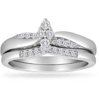 Platinaire Diamond Rings Always   Forever Platinaire 1 4 Carat T W  Diamond Marquee Shaped Bridal Set