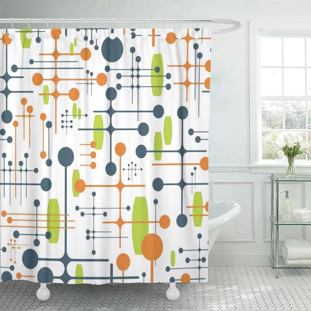cynlon pink black retro futuristic blue gold modern mid century bathroom decor bath shower curtain 66x72 inch walmart com