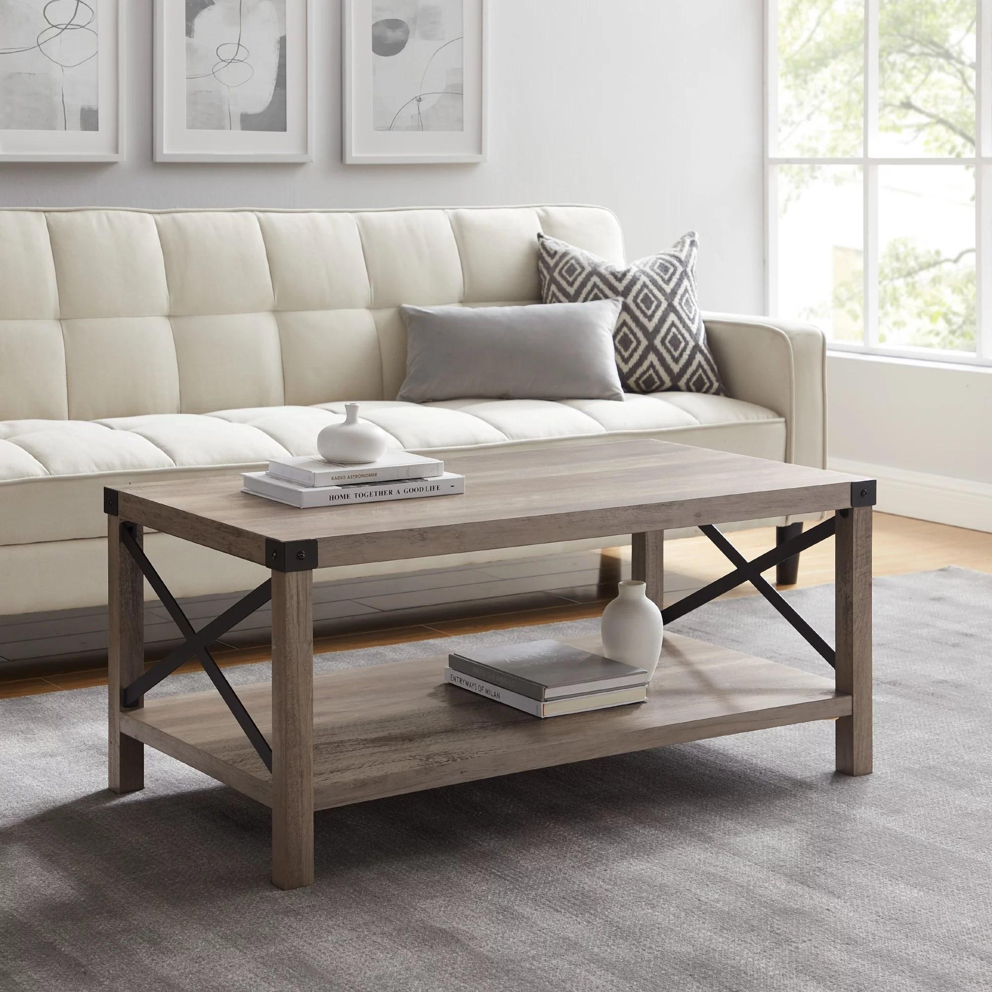 magnolia metal x grey wash coffee table by desert fields walmart com