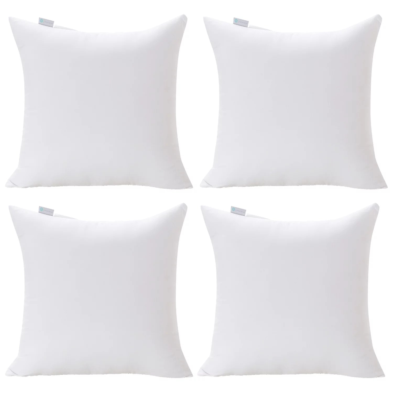 acanva decorative square throw pillow inserts hypoallergenic form stuffer cushion sham filler 20 l x 20 w white set of 4 walmart com