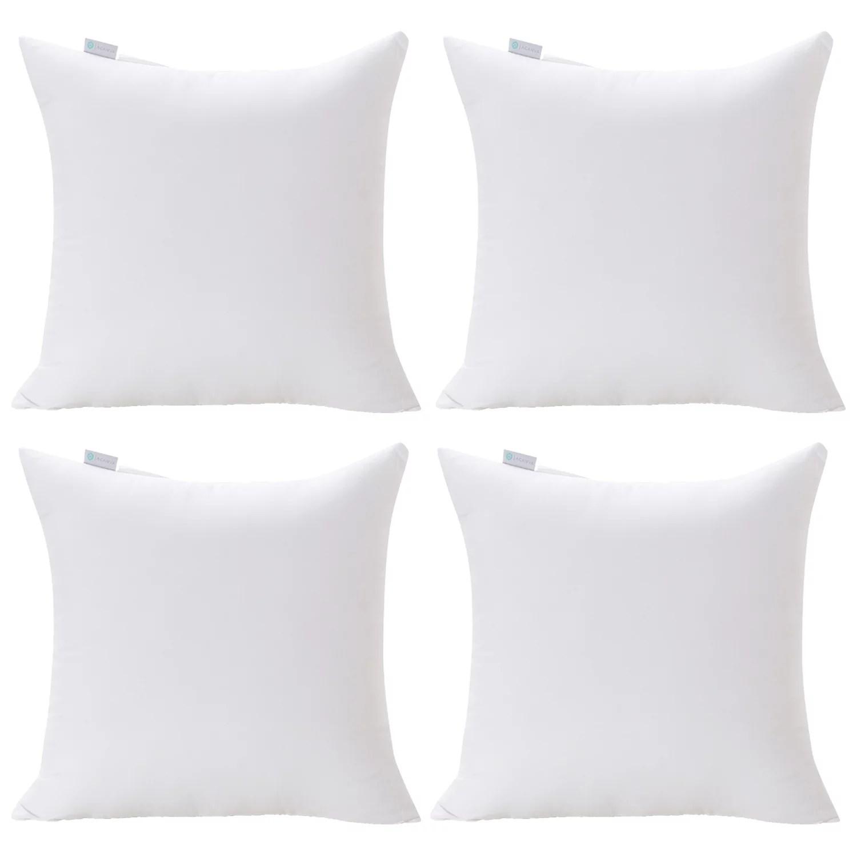 acanva decorative square throw pillow inserts hypoallergenic form stuffer cushion sham filler 20 l x 20 w white set of 4