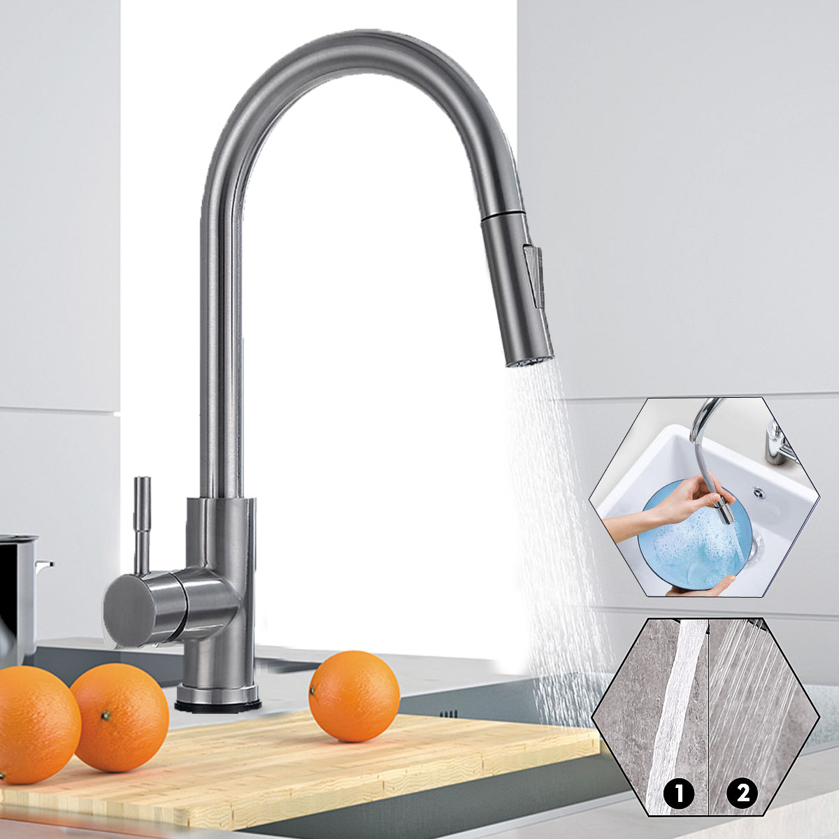 stoneway kitchen faucet with pull down sprayer swivel brushed nickel single handle high arc pull out spray nozzle kitchen sink faucet