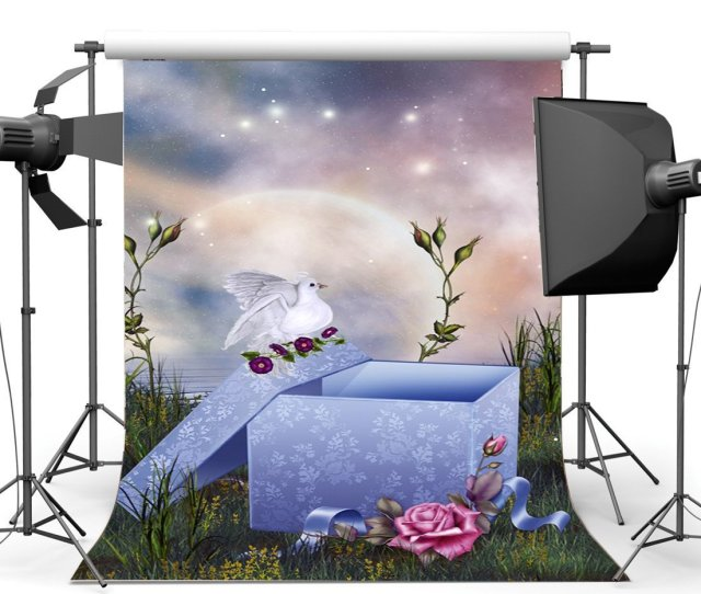 Greendecor Polyster 5x7ft Photography Backdrop Dreamy Fairy Tale Gifts White Dove Grass Field Moon Night Bokeh