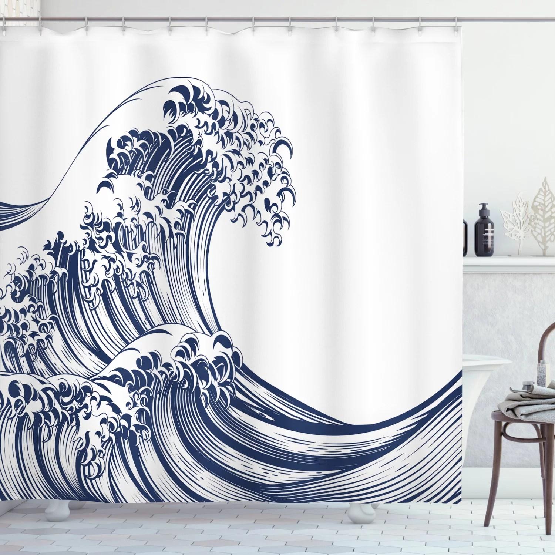 japanese wave shower curtain oriental vintage great wave monochrome kanagawa inspired antique art fabric bathroom set with hooks navy blue white
