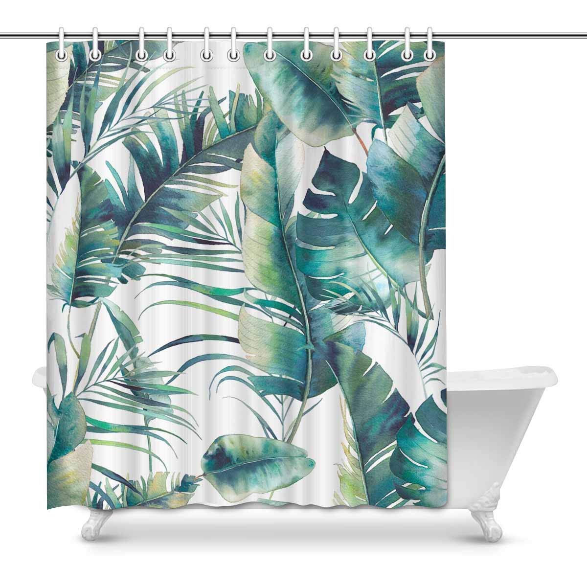 gckg summer palm tree shower curtain banana leaves polyester fabric shower curtain bathroom sets 60x72 inches