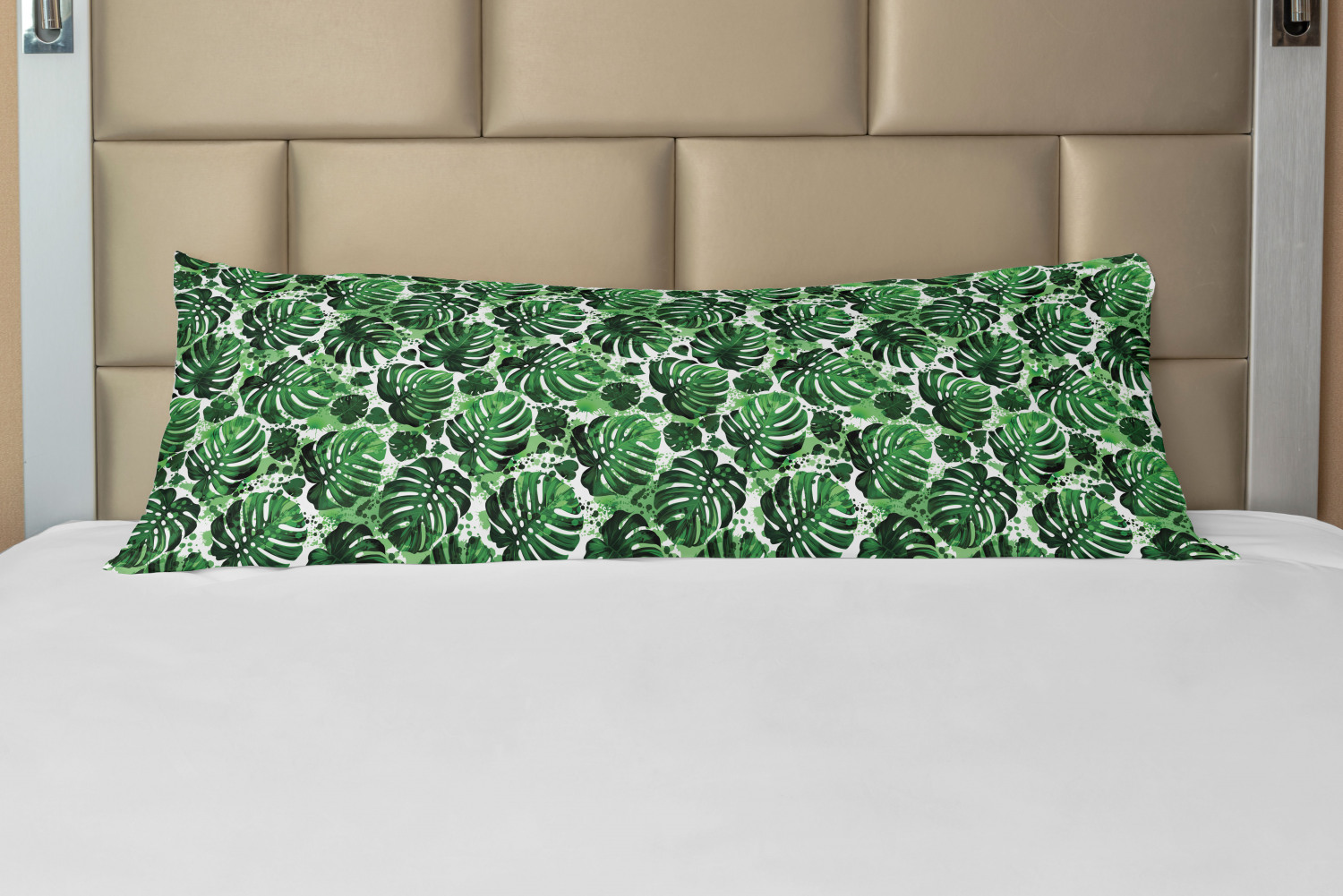 tropical body pillow case cover with zipper green tones exotic monstera leaves pattern with splashed paint effect print decorative accent long