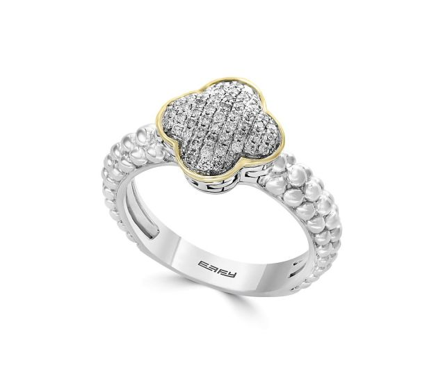Diamond Sterling Silver And 18k Gold Ring
