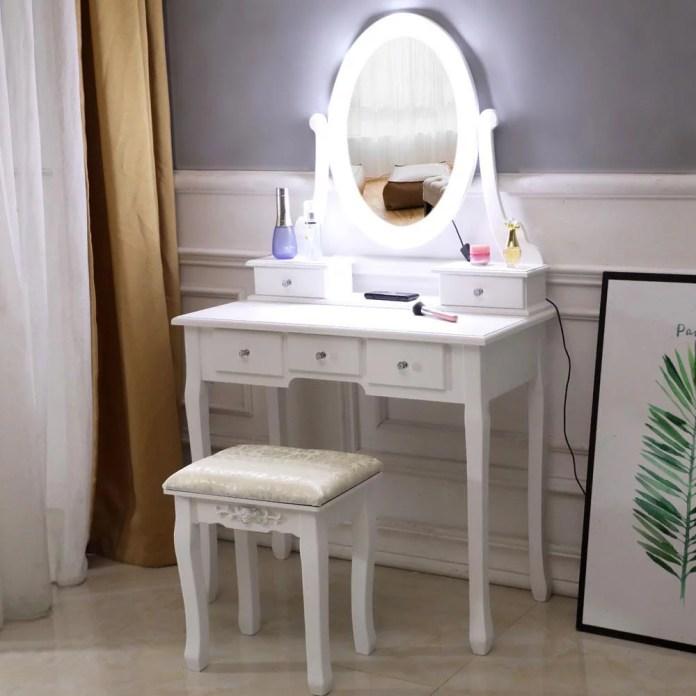 Ktaxon Vanity Table 10 Led Lights 5 Drawers Makeup Dressing Desk With Cushioned Stool Set Bedroom Vanities Set White Walmart Com Walmart Com