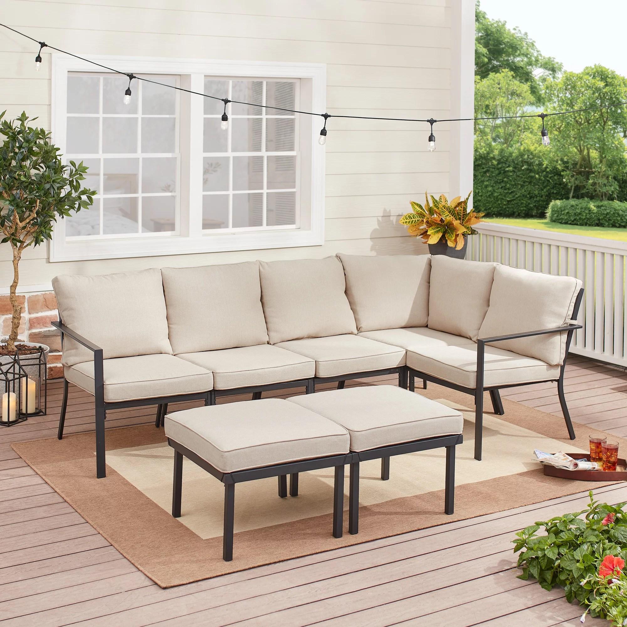 mainstays sandhill 7 piece outdoor patio sectional set beige