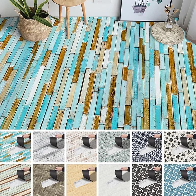 cvlife 3m vintage wood pattern floor tiles stickers removable peel and stick backsplash murals