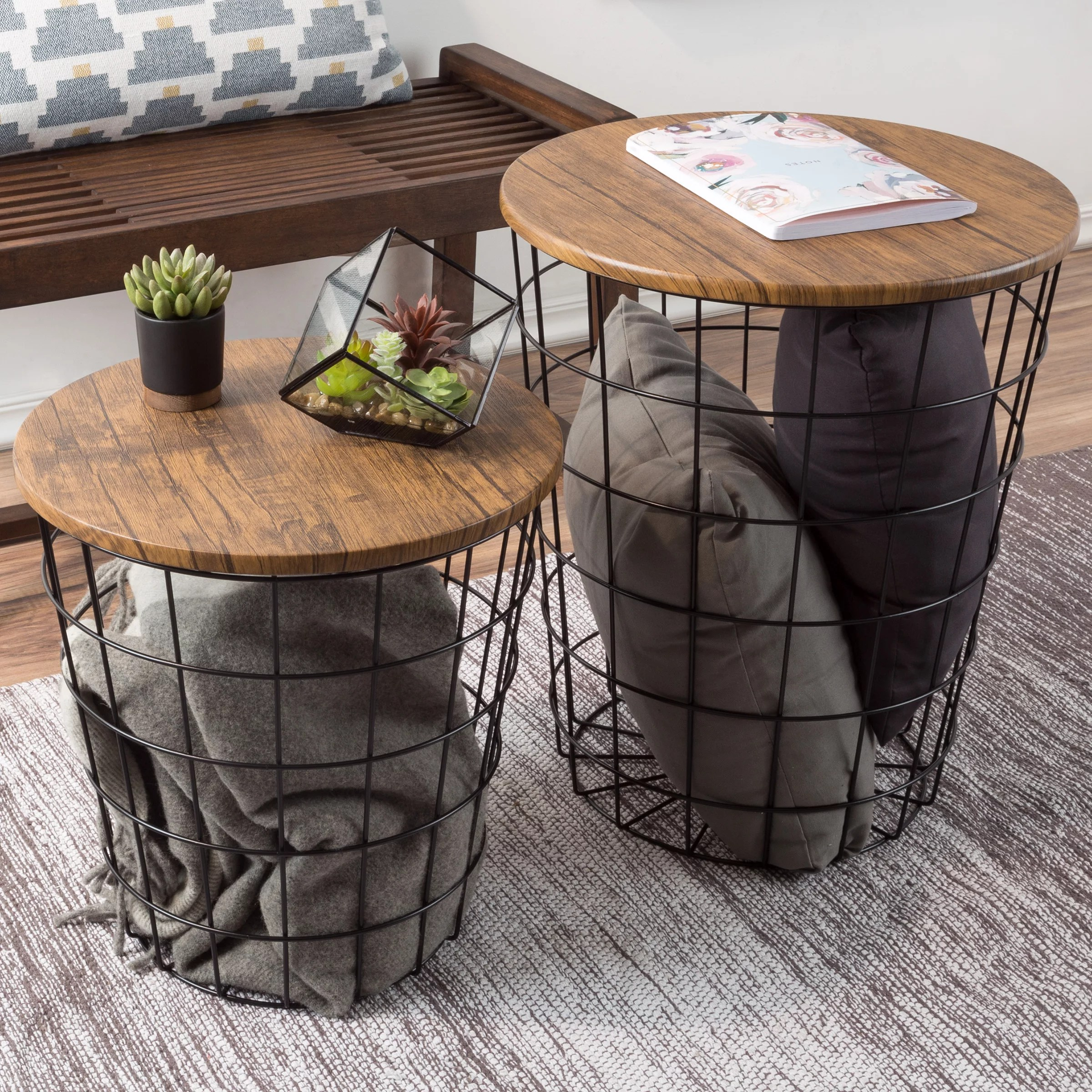 nesting end tables with storage set of 2 convertible round metal basket veneer wood top accent side tables for home and office by lavish home