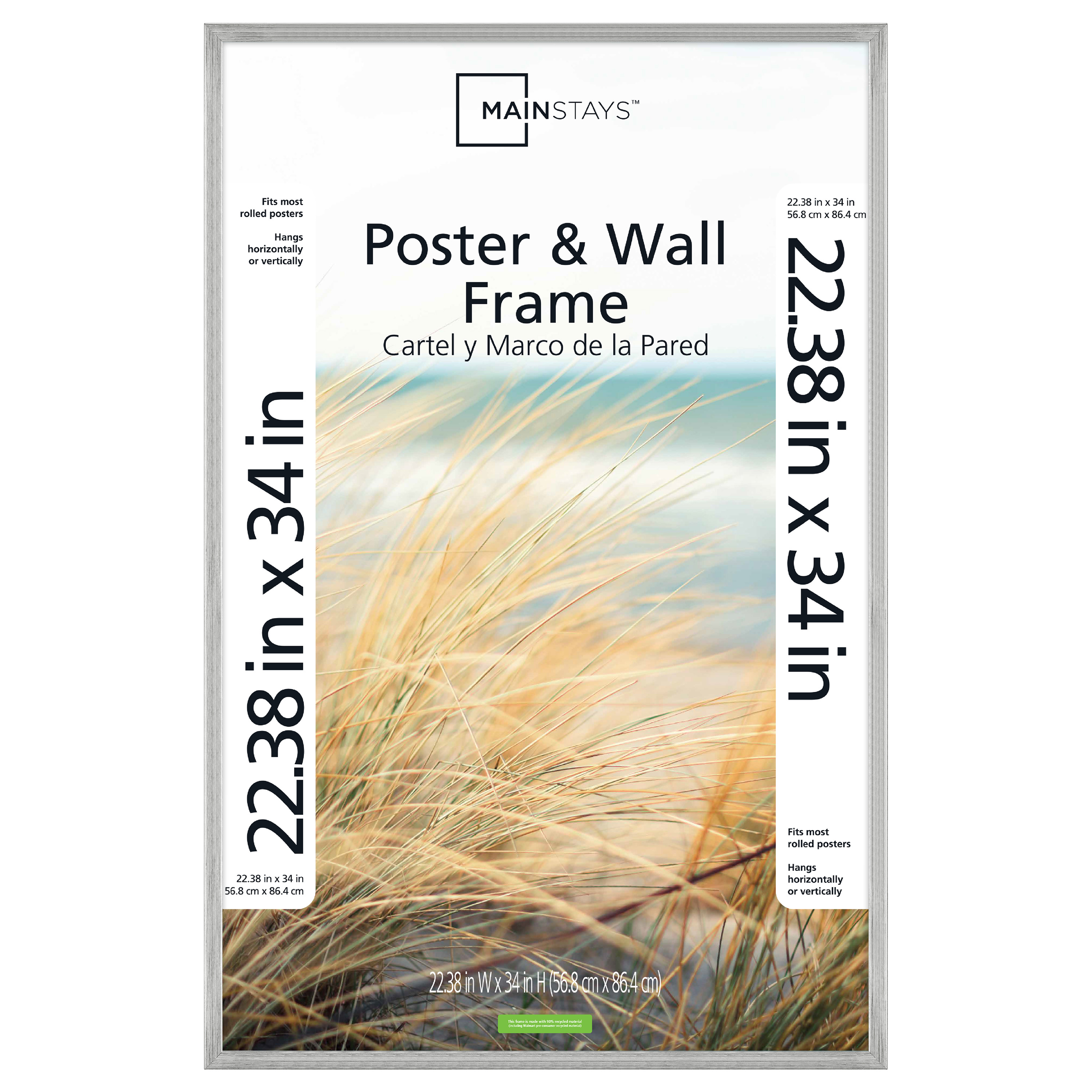 mainstays 22x34 silver metallic poster and picture frame walmart com