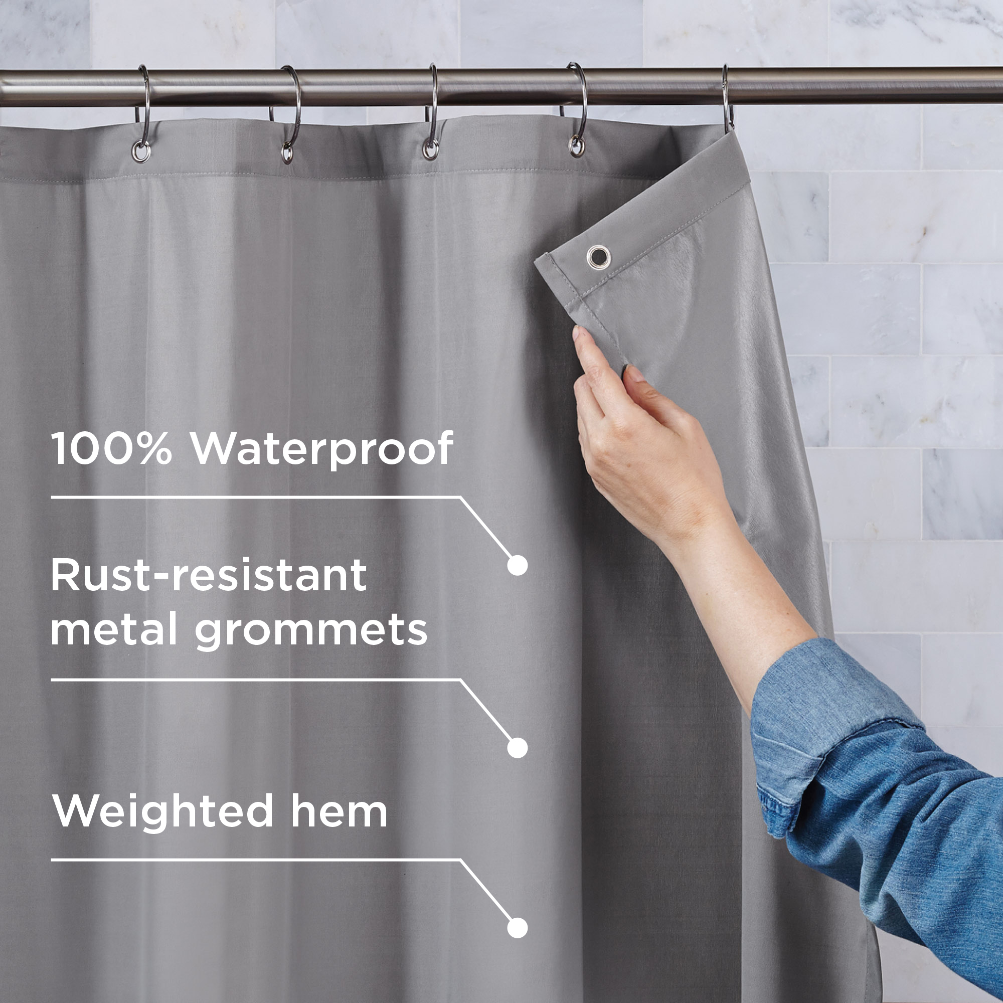 better homes gardens 100 waterproof fabric shower curtain or liner