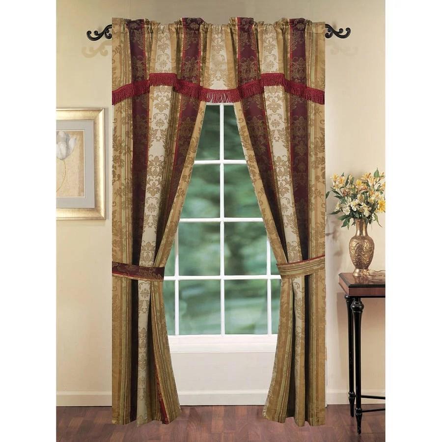 charlotte 5 piece window set burgundy gold walmart com