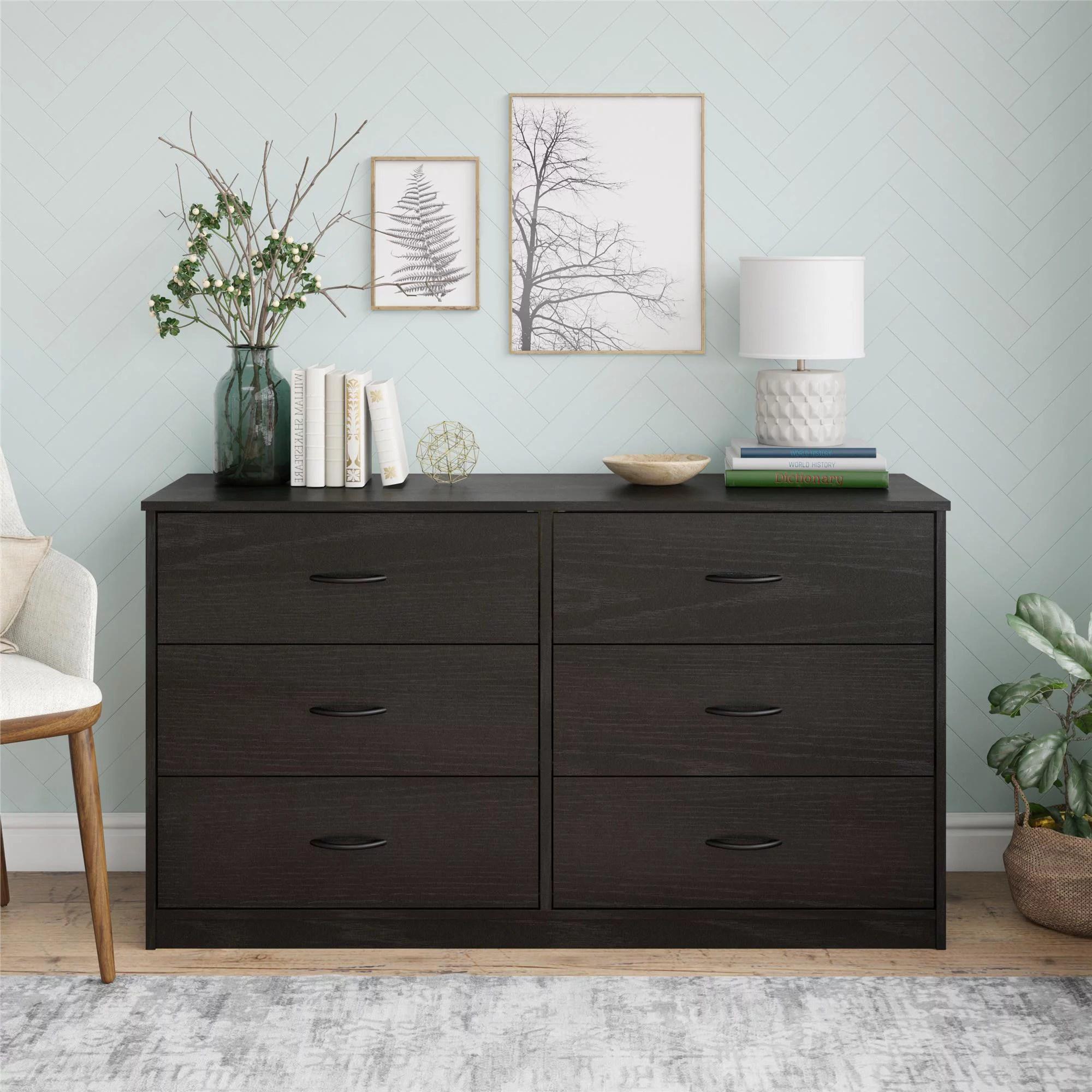 mainstays classic 6 drawer dresser black oak finish
