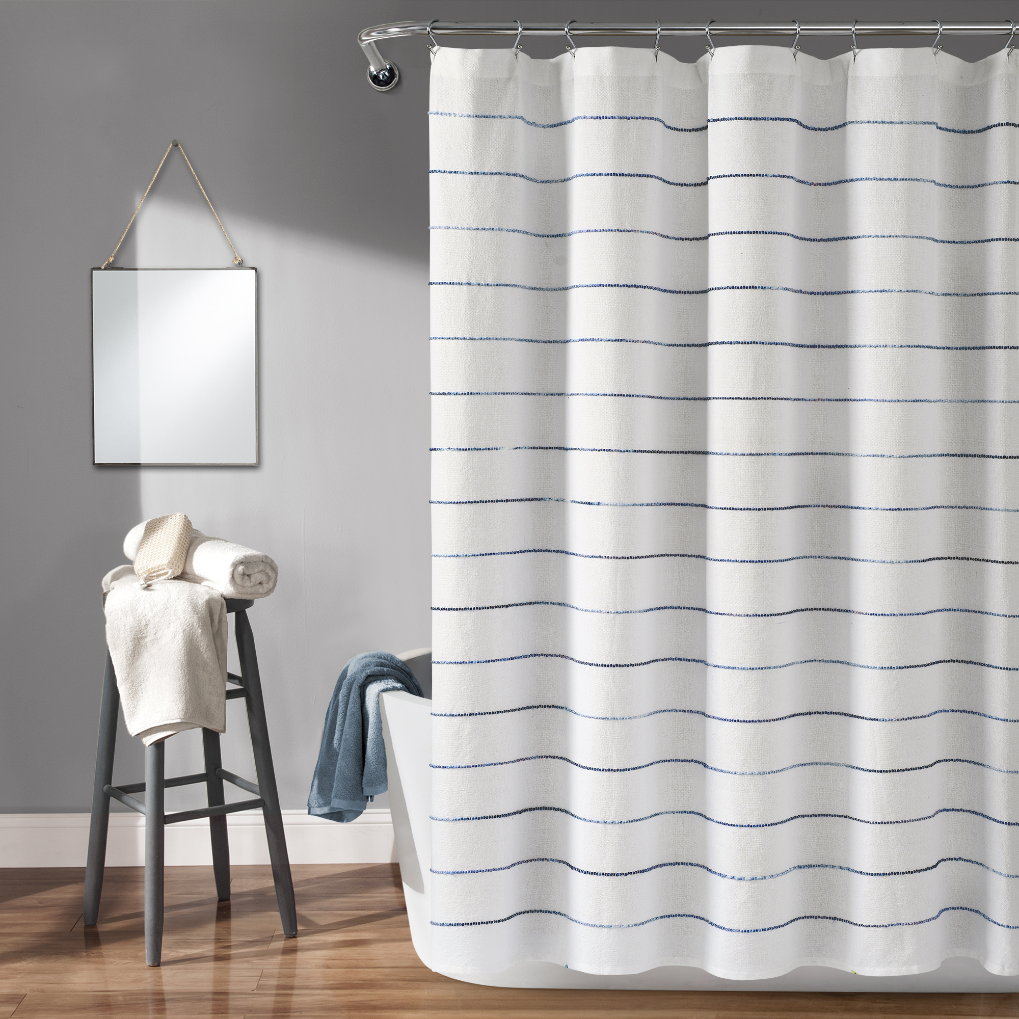 lush decor ombre stripe yarn dyed cotton shower curtain 72x72 navy multi single walmart com