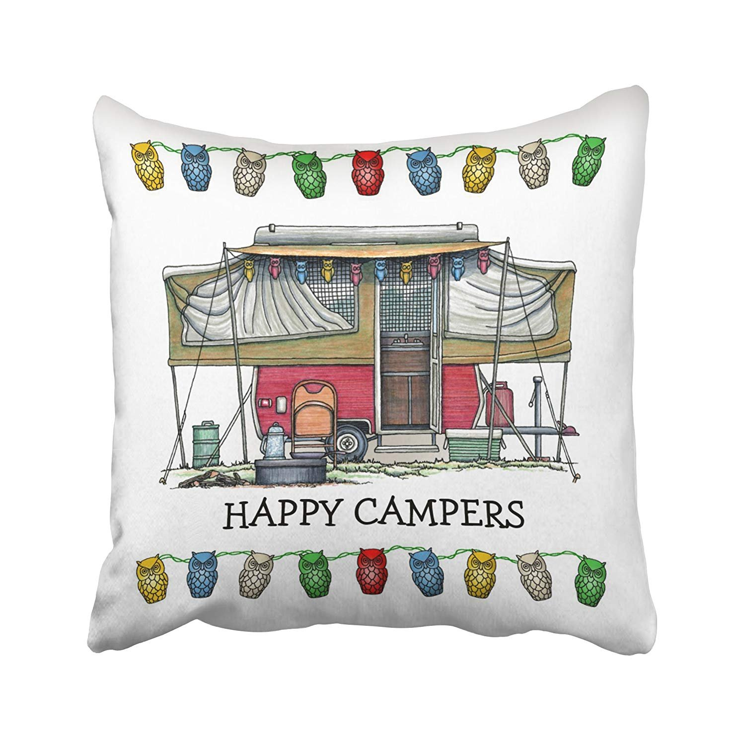 rylablue set of 4 pillow cases happy camper trailer camping cute rv vintage popup travel retro throw pillowcase cover cushion case home decor