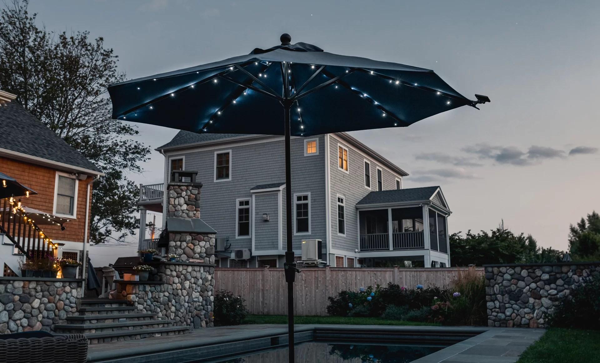 solar led patio umbrella string lights