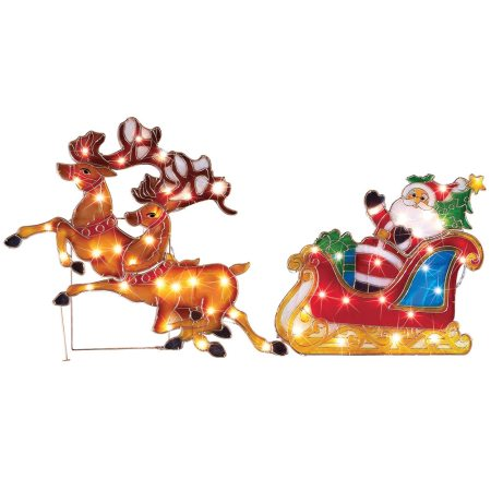 Lighted Santa Sleigh Ride Outdoor Christmas Decoration