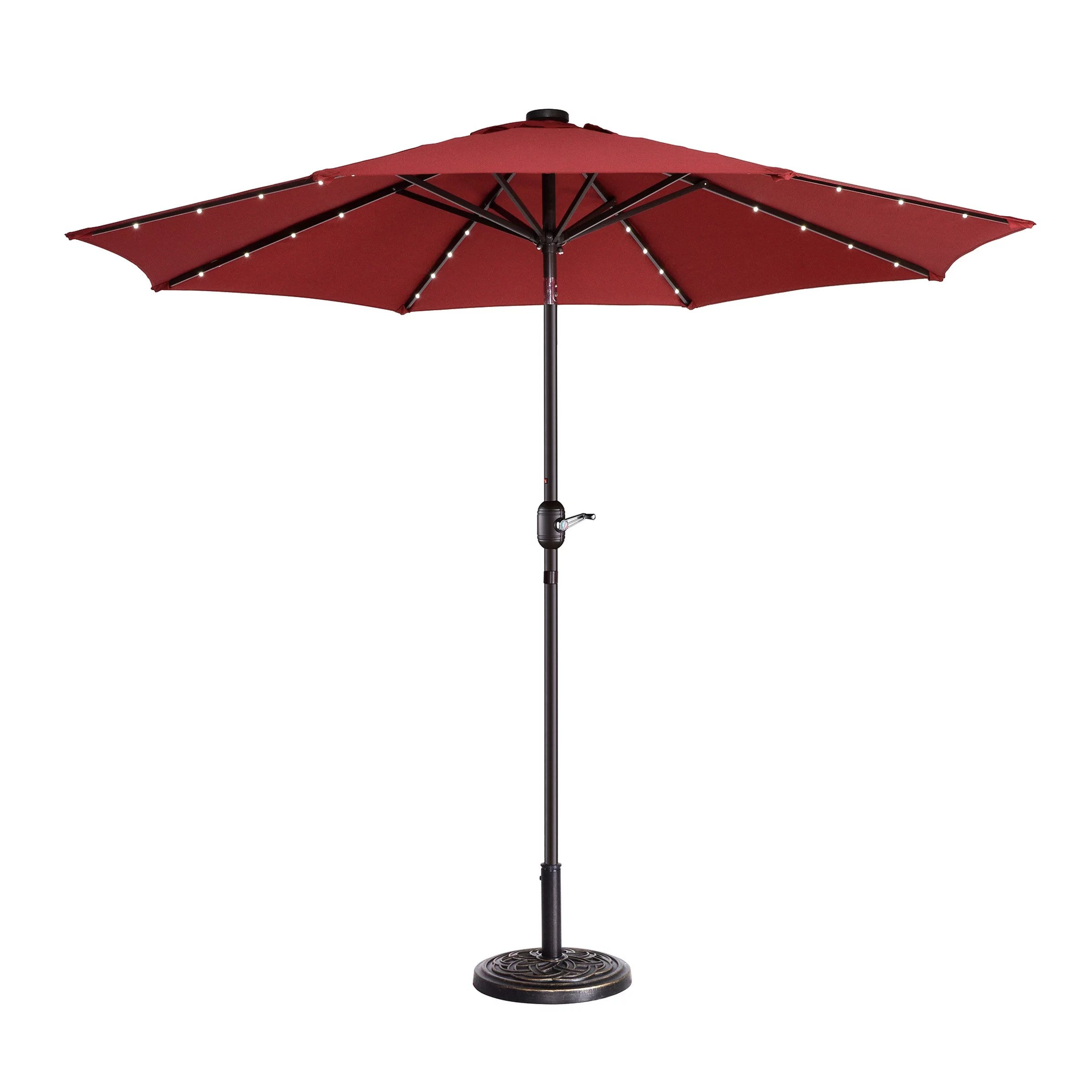 villacera 9 led lighted outdoor patio umbrella with 8 steel ribs and push button tilt solar powered market umbrella red