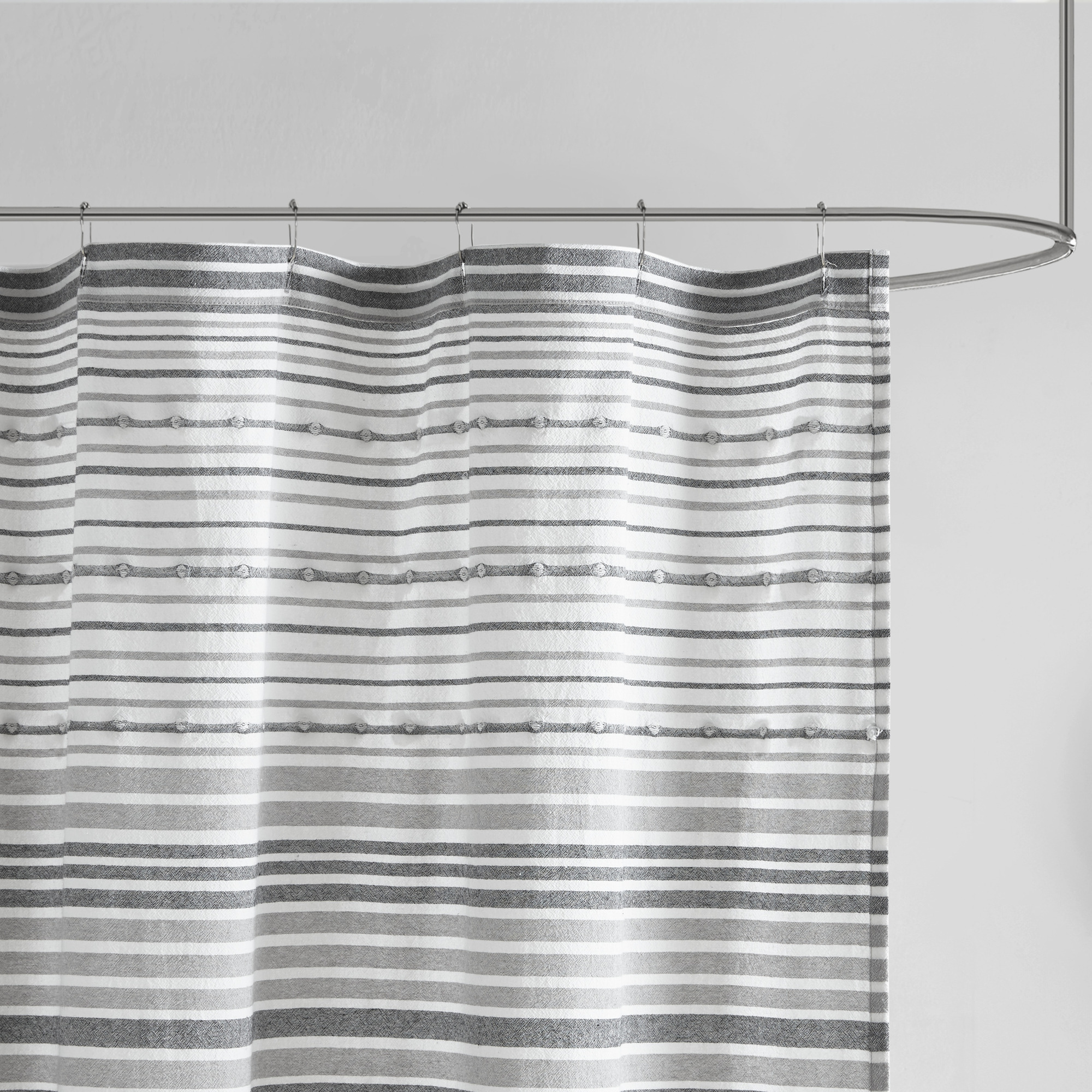 home essence apartment corey cotton yarn dye shower curtain with pom poms