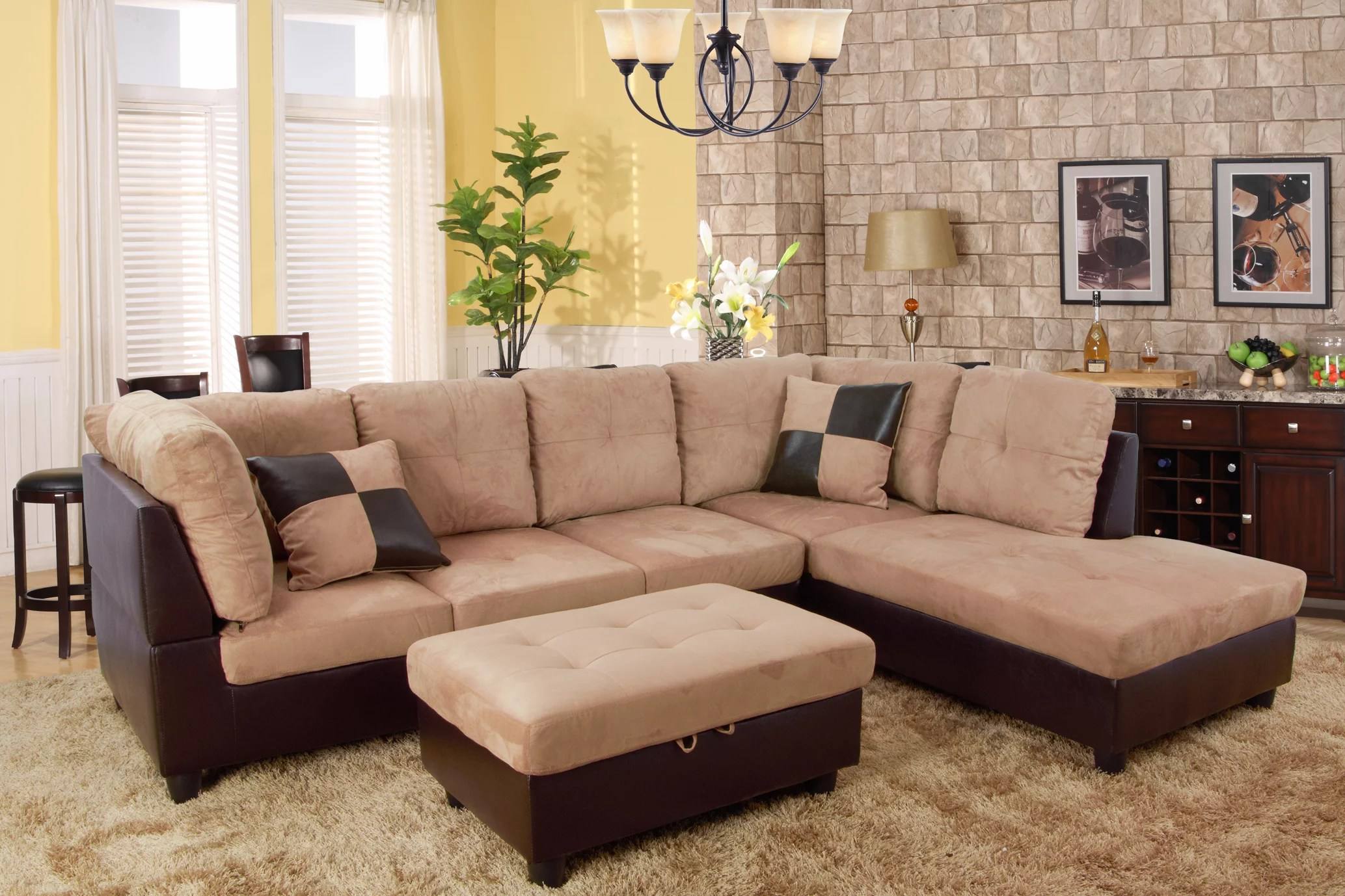 for u furnishing charming beige microfiber sectional sofa righe facing chaise 74 5 d x 103 5 w x 35 h
