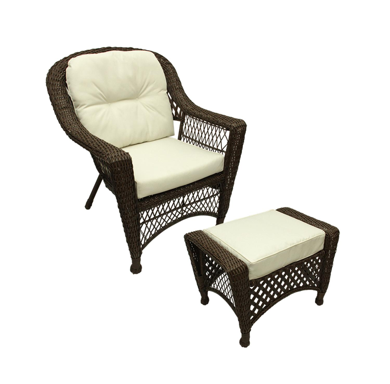 2 pc somerset dark brown resin wicker patio chair ottoman furniture set cream cushions walmart com