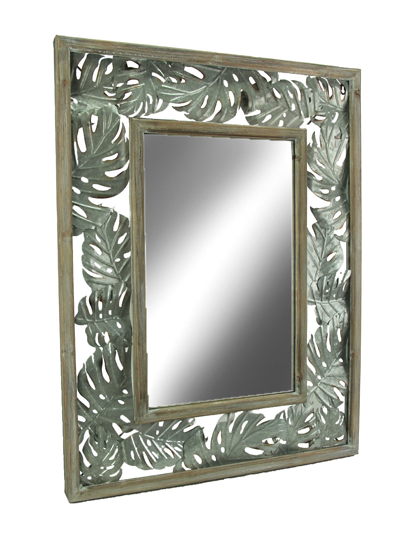 tropical wood and metal monstera leaf design wall mirror walmart com
