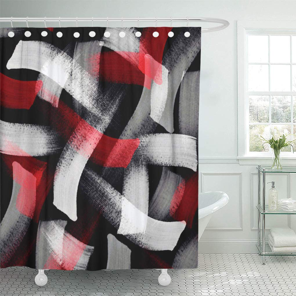 atabie abstract red gray brushstrokes acrylics black white shower curtain 60x72 inch walmart com