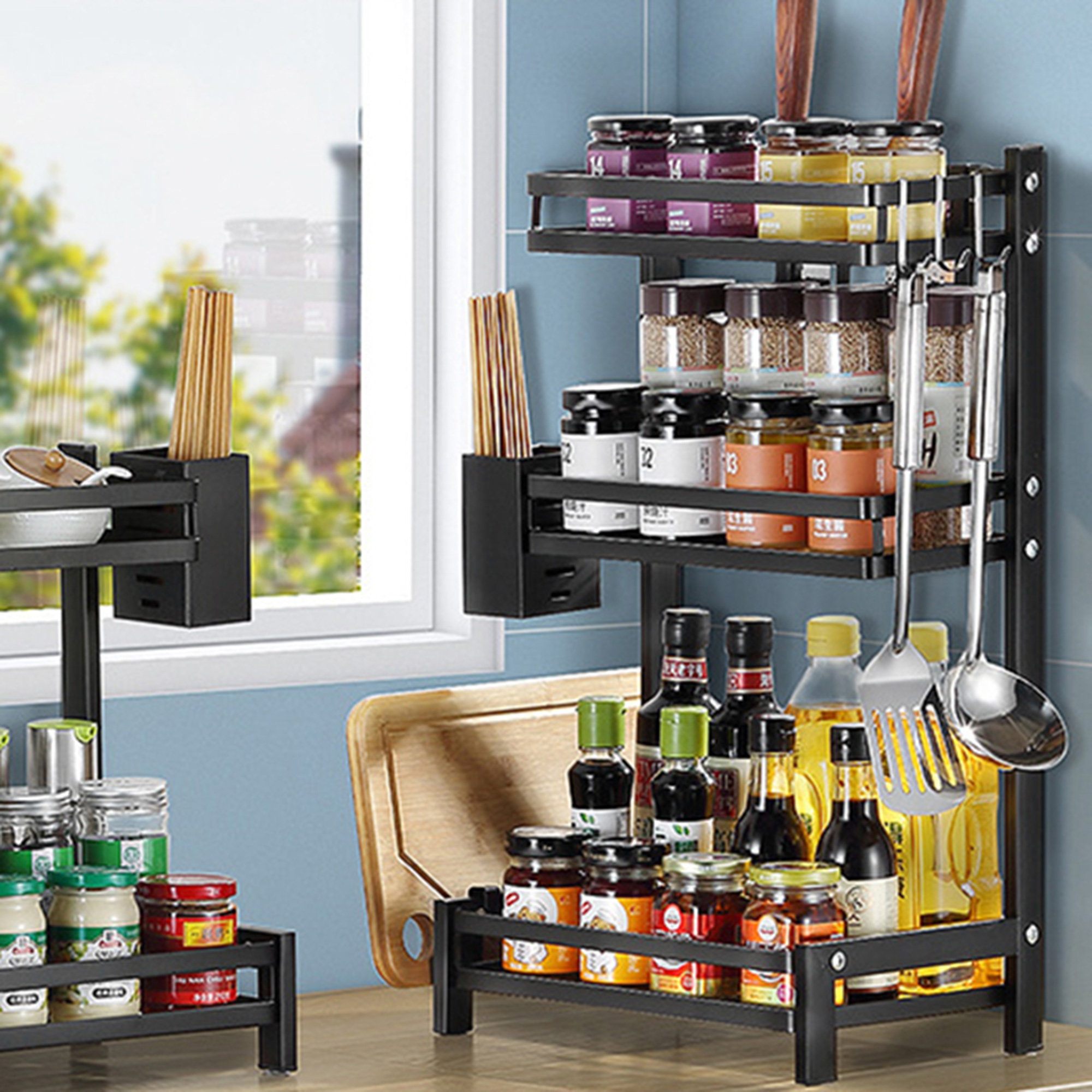 spice rack 3 tier kitchen countertop standing storage organizer or wall mount spice rack organizer spice shelf bathroom shelf holder hanging racks