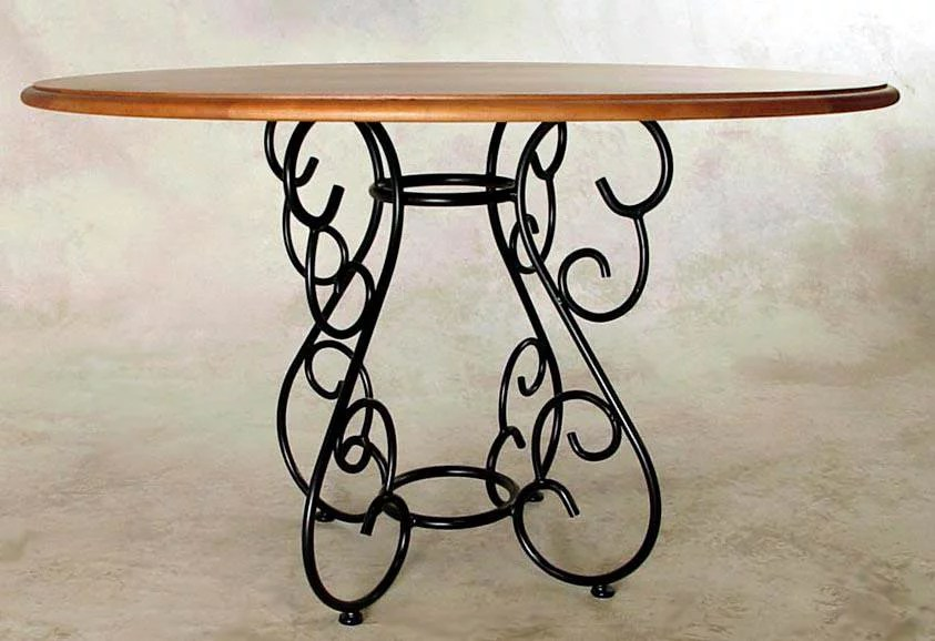 table base for round tops wrought iron base for glass tops aged iron