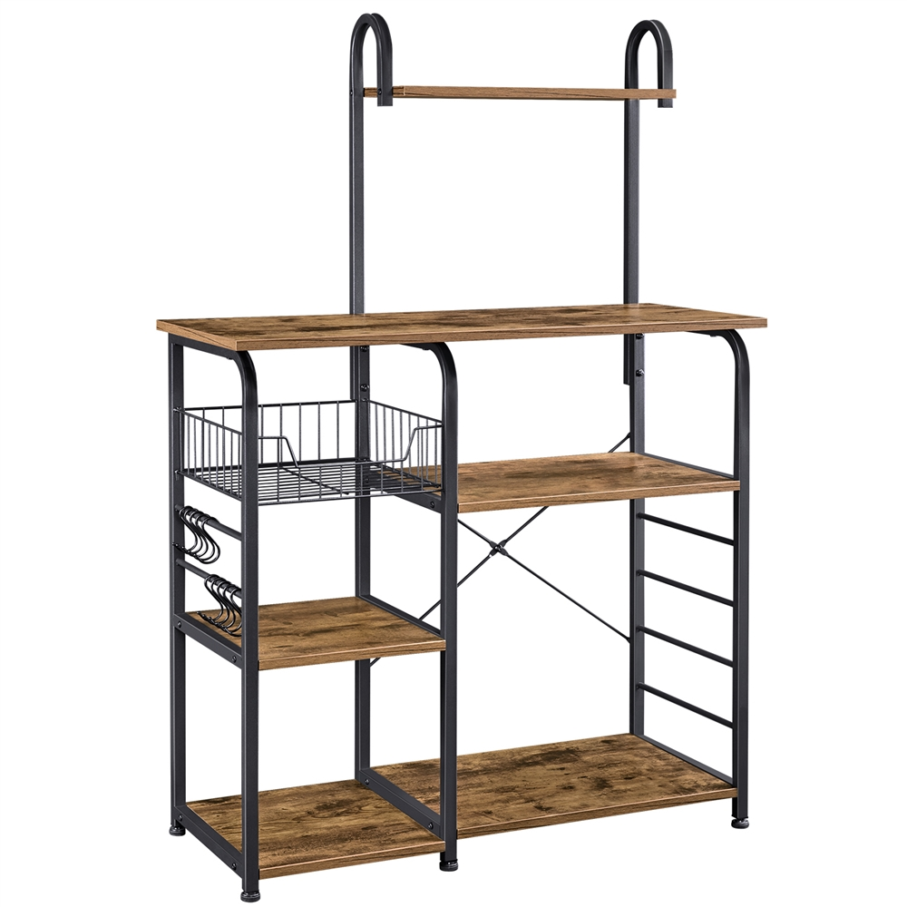 smilemart 35 5 kitchen bakers rack shelf with 7 storage shelves rustic brown