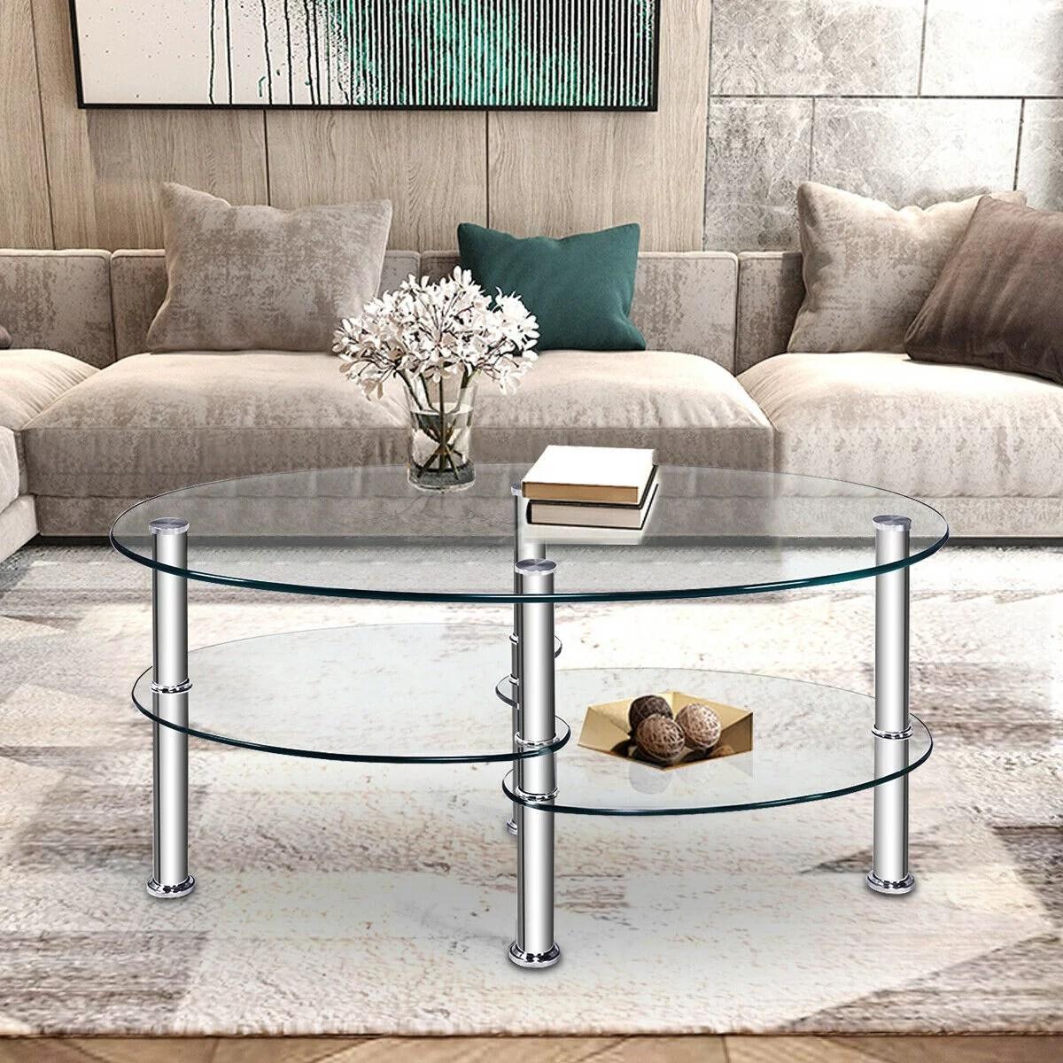 costway tempered glass oval side coffee table shelf chrome base living room clear walmart com