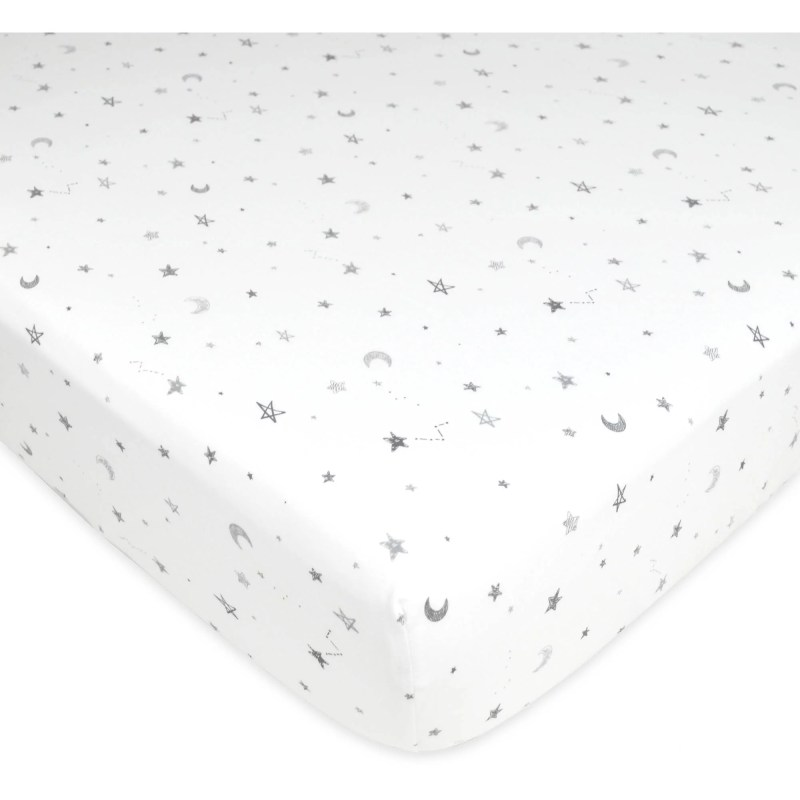 American Baby Co. Cotton Jersey Knit Fitted Crib Sheet, White w/ Grey Stars