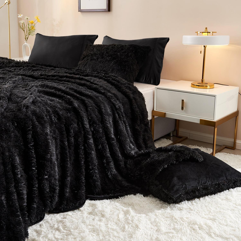 3 pieces plush shaggy duvet cover luxury ultra soft crystal velvet bedding set with faux fur pillow shams microfiber pillowcases zipper closure