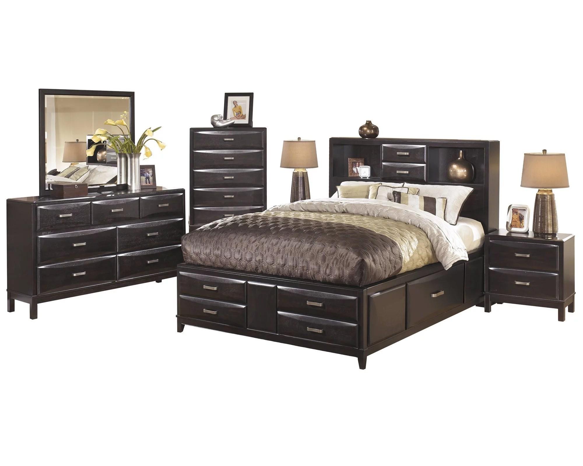 Ashley Furniture Kira 6 Pc Bedroom Set Queen Storage Bed Dresser Mirror 2 Nightstand Chest Black Walmart Com Walmart Com