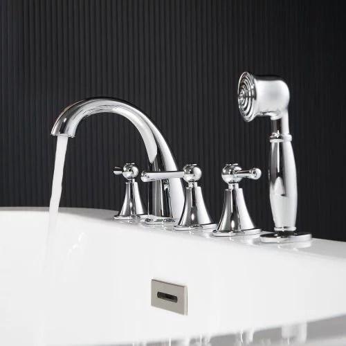 woodbridge bathroom 5 hole tub hand shower deck mounted bathtub filler faucet with 3 handles chrome finish f0021 ch