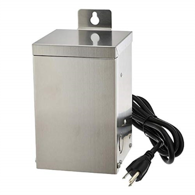 marlg 75 watt low voltage multi tap 12v15v stainless steel landscape lighting transformer with mechanical rotary timer etl listed 3288 12v