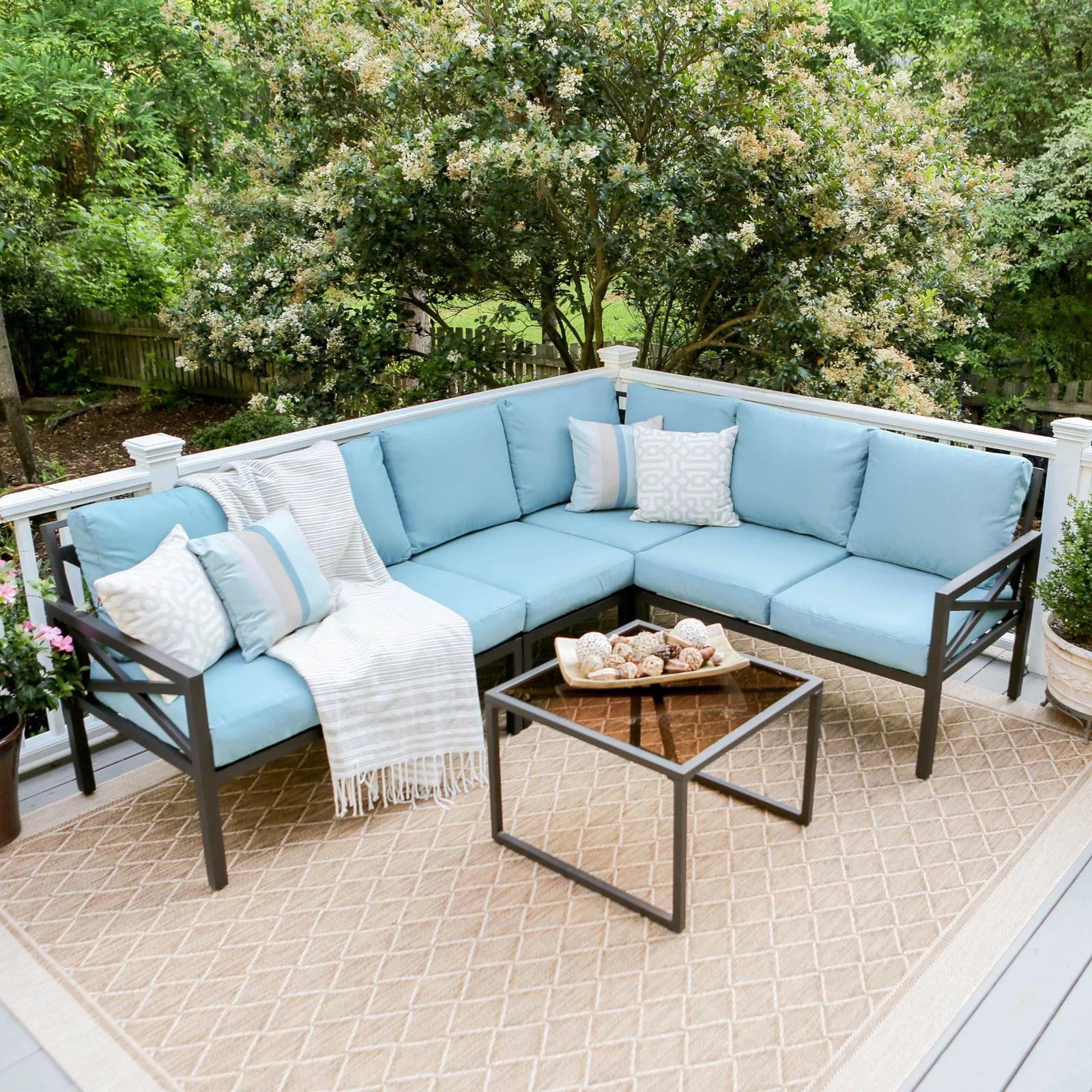 leisure made blakely aluminum 5 piece corner sectional patio conversation set walmart com