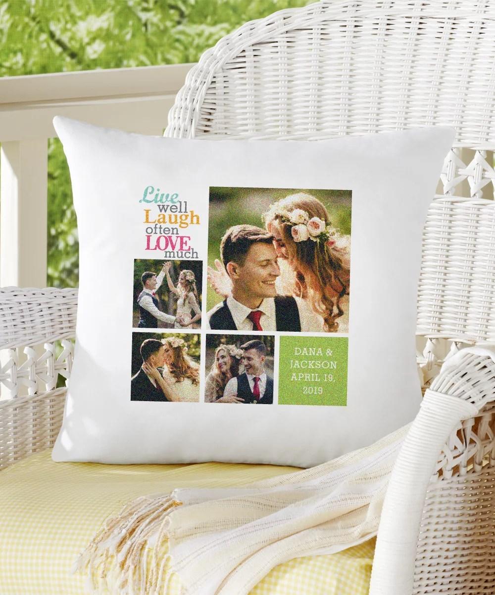 personalized live laugh love photo pillow color