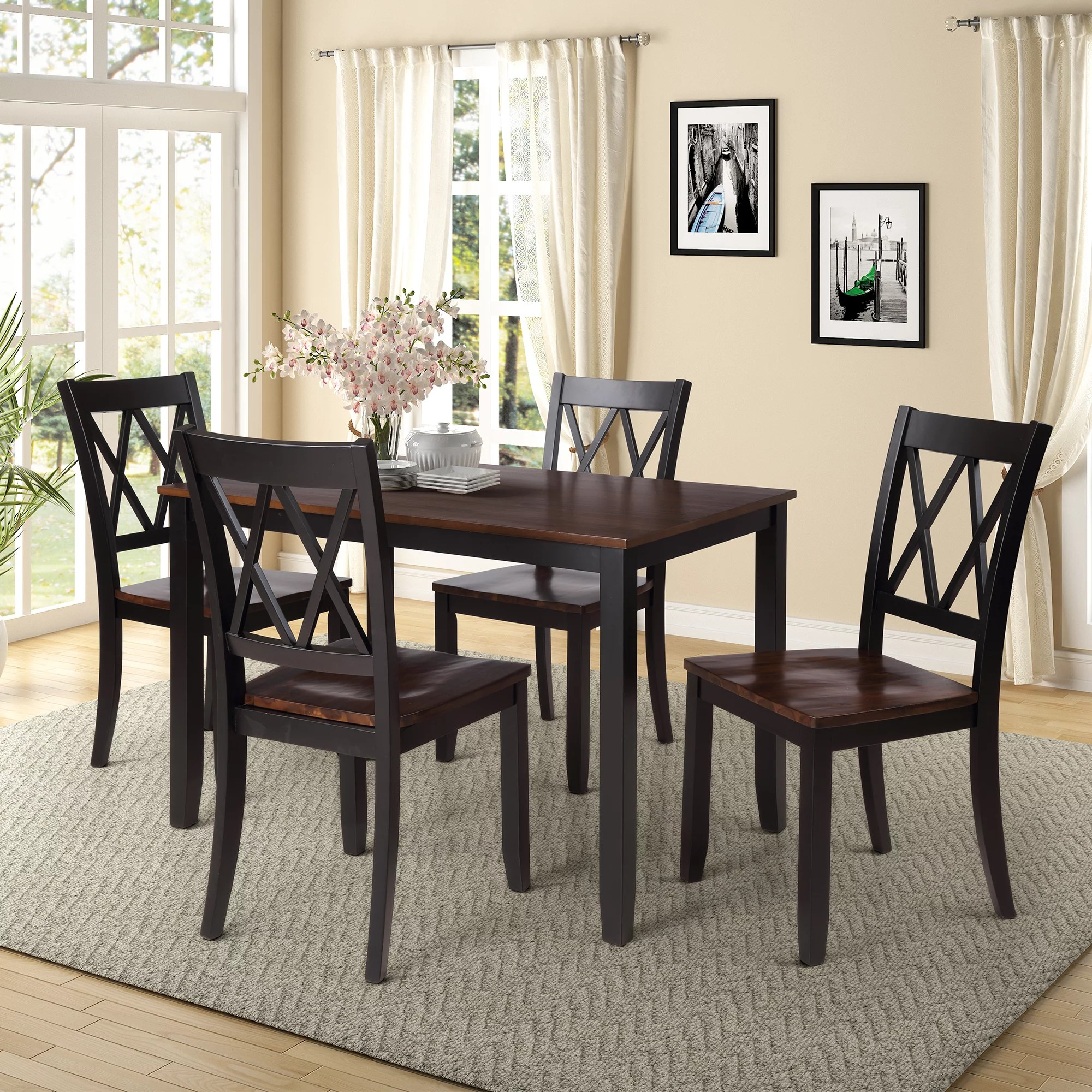 Clearance Black Dining Table Set For 4 Modern 5 Piece Dining Room Table Sets With Chairs Heavy Duty Wooden Rectangular Kitchen Table Set For Home Kitchen Living Room Restaurant L865 Walmart Com