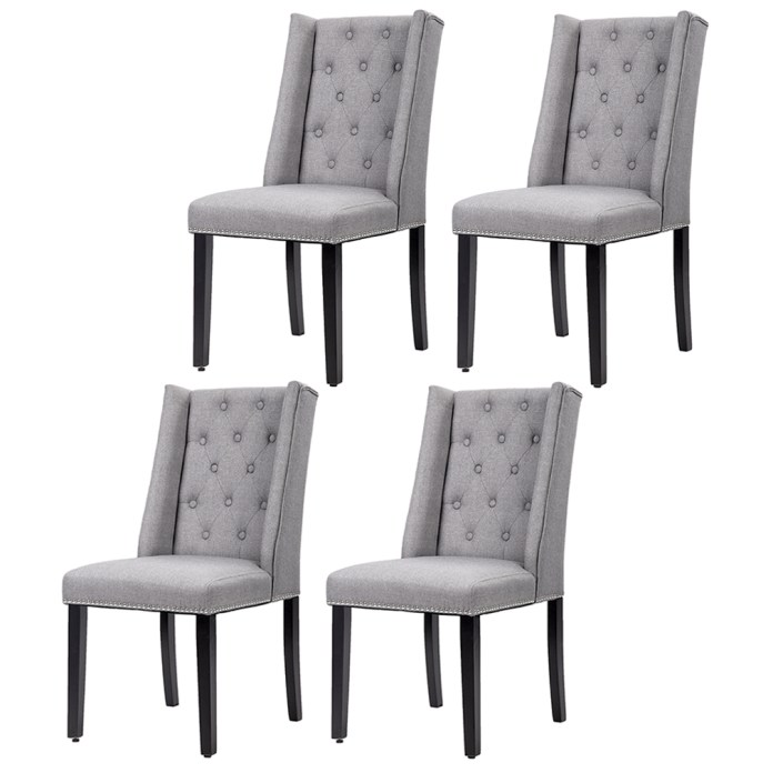 Set Of 4 Grey Elegant Dining Side Chairs Button Tufted Fabric With Nailhead Walmart Com Walmart Com