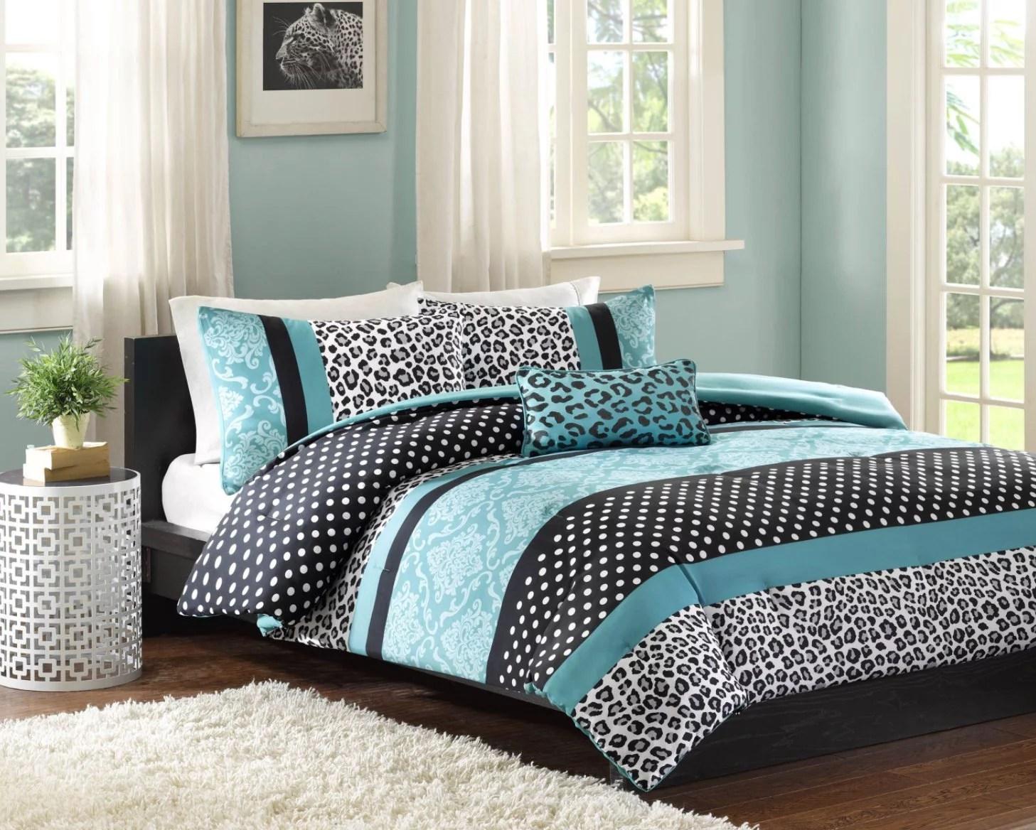 Comforter Bed Set Teen Bedding Modern Teal Black Animal ... on Teenage Bed  id=17294