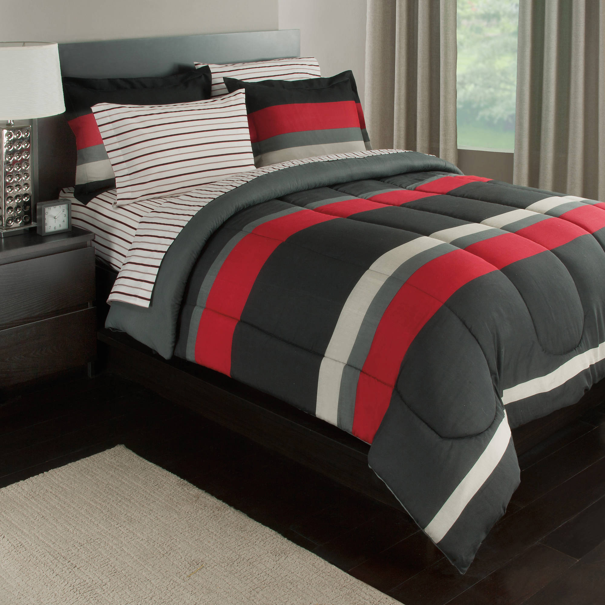 black gray red stripes boys teen full comforter set 7 piece bed in a bag walmart com